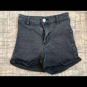 Black stretchy jean shorts divided